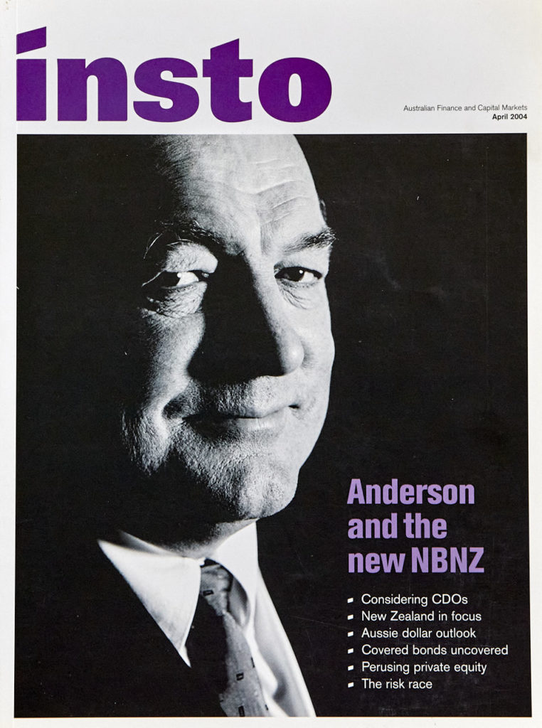 Sir John Anderson chairman of NBNZ 2004 - our last commercial shoot on film.